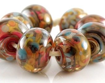 Anything Goes Made to Order SRA Lampwork Handmade Artisan Glass Donut/Round Beads Set of 8 8x12mm