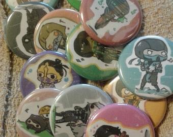 Mortal Kombat Chibis -  Buttons ( Set & Pick )