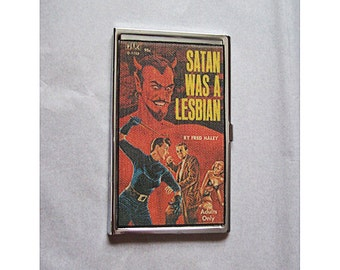 Gay pulp art etsy lesbian pulp business card holder retro vintage gay pin up paperback kitsch case colourmoves Choice Image