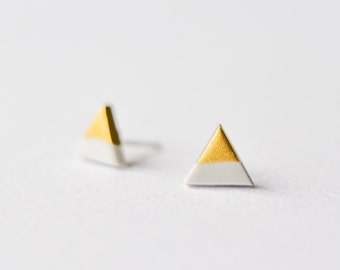 Grey Gold Dipped Triangle Stud Earrings
