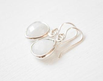 Moonstone Earrings, Sterling Silver, Bridesmaids Earrings, White Moonstone Earrings