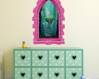 Castle Window Wall Decal, Floating Gazebo, Kids Wall Murals, Vinyl Sticker, 3D Window, Removable, Princess Nursery Decor, Pink