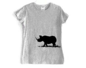 Schwarz Rhinocerous Screenprinted graues TShirt Black Ink