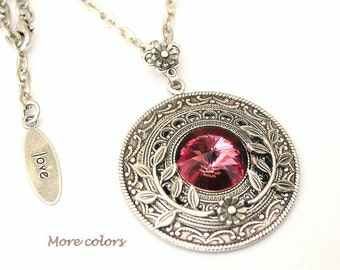 Round Swarovski Crystal Necklace  - Antique Pink More colors - Victorian Silver Pendant - Victorian Gothic Jewelry