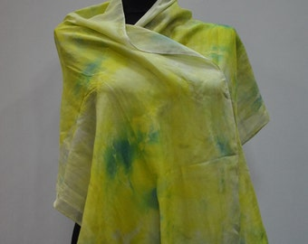 Vintage HANDMADE silk scarf , hand dyed scarf , hand rolled ....(728)