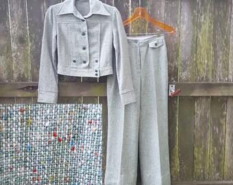 Womens Pants Suit, 70s Pants Suit, Tweed Pants Suit, Green Pants Suit, Bell Bottom Pants, Battle Jacket, Cropped Jacket