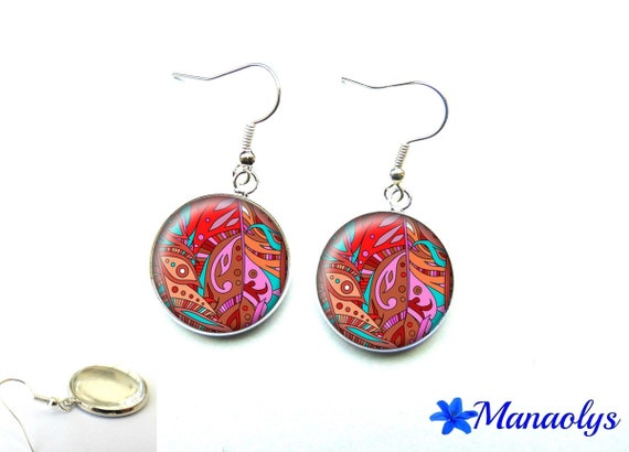 Multicolored patterns 2848 glass cabochons earrings