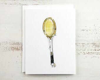 White Tennis Racquet Note Card