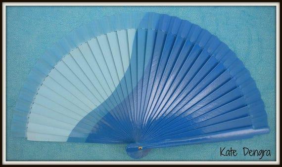 Three Tone Blue Design Spanish Hand Fan Limited Edition