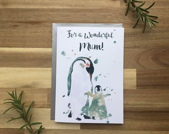 Mother's Day, card, mum, baby penguin, special mum, mothersday, watercolour, cute, love, best mum, green, painted, birthday card