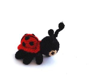 miniature ladybug, tiny crochet ladybug, small ladybug, amigurumi ladybug, collectible little doll, pocket critter