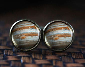 Jupiter Cufflinks, Planet Jupiter Cuff links, Jupiter Jewelry, galaxy universe cufflinks, space planet cufflinks,