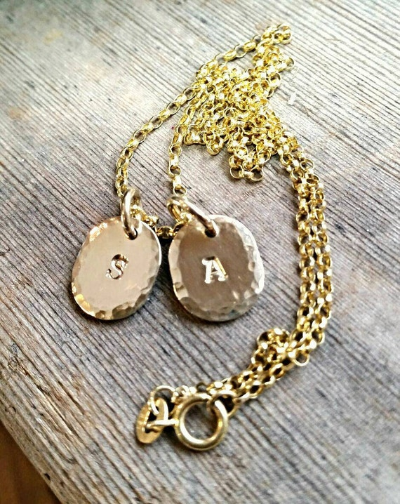 Gold Initial Personalized Oval Disc Charm Necklace, Solid 14k Gold Oval Charm, Custom Engraved Initials Or Letters, Mothers Necklace