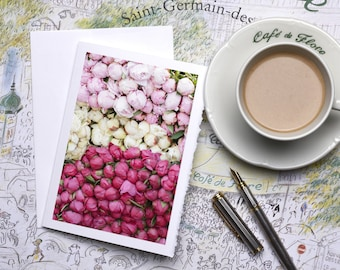 Paris Photography Notecard - Tricolor Peonies, Stationery, Blank Card, Greeting Card, White Deckle Edge