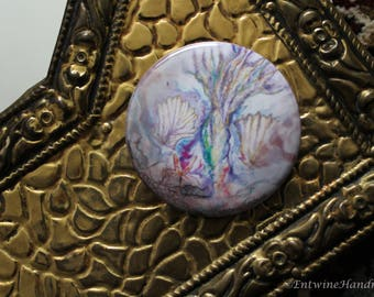 Mermaid Compact Pocket Mirror with Velvet Bag Original Artwork