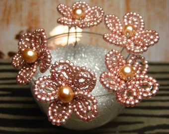 Armagnac Copper - U-Pins or Bobby Pins - French Beaded Flower