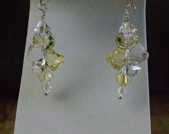 swarovski earrings with jonquil and clear crystals