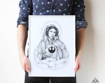 Princess Leia Art Print - Star Wars Print / Leia Organa Print / Star Wars Poster / Star Wars Wall Art / Princess Leia Print/ Carrie Fisher