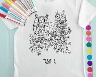 Girls Owl Tee Shirt Personalised Colour in Owl Design Doodle Colouring in Fabric Pens T-Shirts Fun Activity for Kids