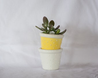 Set of Two Vintage Tiny Planters/Pots/Cachepots with White 3D Polkadots