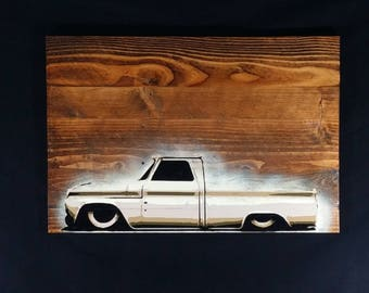 Man Cave Art, Classic C10 Truck Painting, Original Spray Art, Handmade Home Decor, Gift For Him, Vintage Chevy Truck Art, Wood Pallet Art