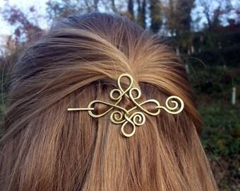 Celtic hair slide Gold hair clip Brass hair holder Celtic knot Metal hair pin Boho hair barrette gift For Womens gift For her