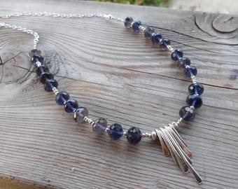Beautiful Shaded Iolite Gemstone and Birthstone Sterling Silver Necklace