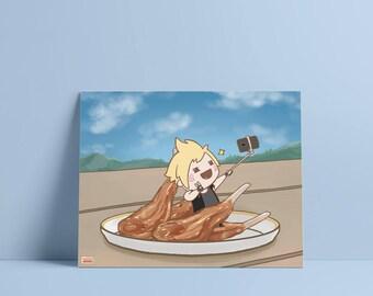 FFXV Food: Prompto Art Print (Physical Print) // Final Fantasy, Noctis, Ignis, Gladio, Gladiolus, chibi, japanese, cute, kawaii