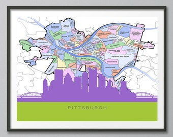 Pittsburgh Skyline, Pittsburg Map Art, Pittsburgh Skyline Art, City Map, Pittsburgh Skyline Print, Map Art, Poster, Home Decor, Wall Art
