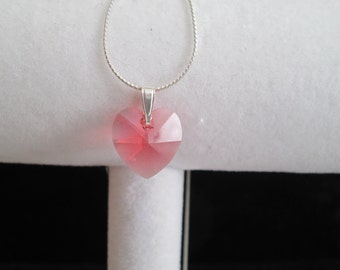 """Pink Swarovski Crystal Heart Pendant on a Sterling Silver 18"""" Beading Chain"""