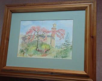 Original Watercolour of a Pink Tree