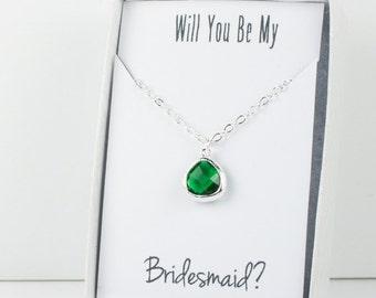 Emerald Silver Necklace, Bridesmaid Emerald Necklace, Green and Silver Necklace, Green Wedding Accessories, Bridesmaid Jewelry