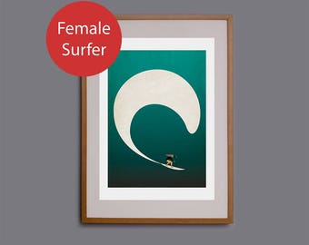 Surf art, surf gift, surf print, wall art, surf decor, surf illustration, Cornwall, surfer, giclee, wave, surf girl, beach theme, surfing