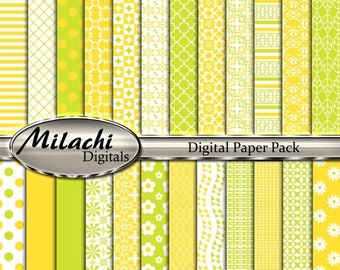 60% OFF SALE Pear and Banana digital paper pack, scrapbook papers, backgrounds - Commercial Use - Instant Download - M254
