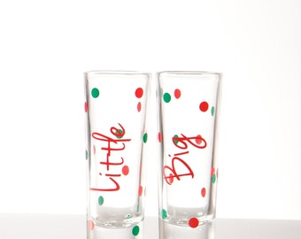 Big Little sister Sorority shot glasses, names polka dots. Big sister, little sister shooter glasses. Christmas gift. Gbig, Glittle gifts