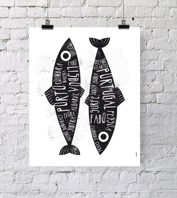 Portugal. Poster. Wall decor art. Illustration. Digital print. Sardine. Travel.