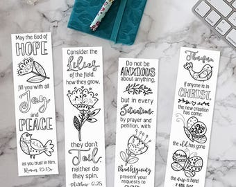 Coloring Bible Bookmarks - Printable, Instant Download, Color In, Verse Journal Margins, Art Journaling Collage Sheet, Scripture Template