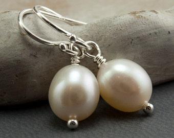 Freshwater Pearl Earrings White Pearl Earrings. Wedding Jewelry. White Pearls June Birthstone Earrings Simple Drop Earrings Sterling Silver