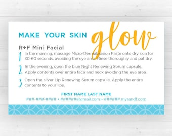 Rodan and Fields Mini Facial Cards | Customized Printable