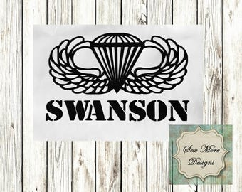 Airborne Wings Decal, Yeti, Ozark Trail Monograms ~ Car Decal ~ Personalized Vinyl ~ Monogram Sticker ~ Made to Order