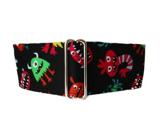 Monsters Martingale Dog Collar, 1.5 Inch Martingale Collar, Monsters Dog Collar, Greyhound Collar, Sighthound Collar