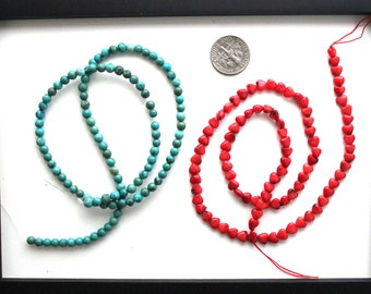 Turquoise Coral Combo, 4mm turquoise beads, 4 mm coral beads, gemstones beads, red heart beads, 4 mm round beads, focal beads (Dg214)