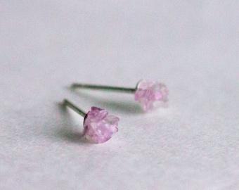 Amethyst small silver stud earrings -  sterling silver purple studs