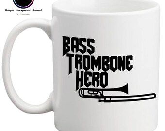 Bass Trombone Hero- Funny Mug- Gift for Trombone Player- Gift for Brass Player- Brass Band Gift- FREE UK SHIPPING