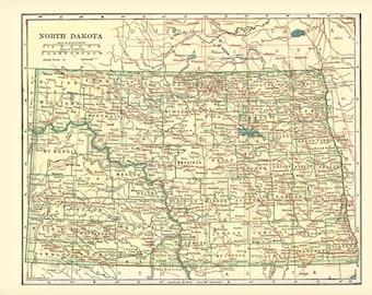 NORTH DAKOTA MAP 1906 - Instant Digital Download reproduction
