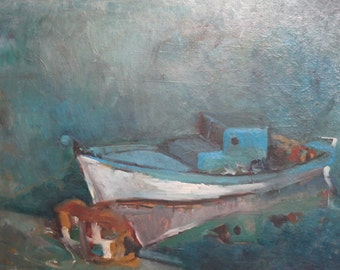 Seascape boat vintage oil painting