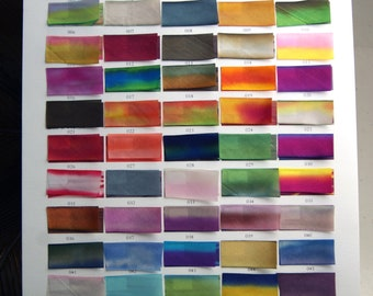 """Hand Dyed Silk Ribbon Earth Silk 1"""" wide 3 yard cutting blended colors 71-532"""