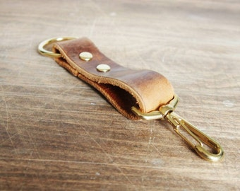 Genuine leather key fob, personalised tan leather, swivel clip and hoop