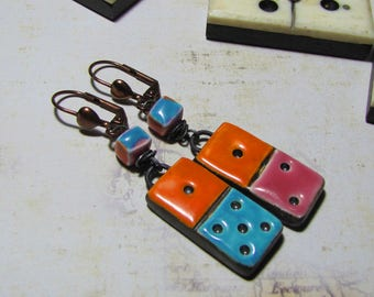 Turquoise fuchsia orange domino ceramic, copper, Leverback Earrings