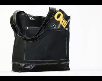 Black Waxed canvas tote - heavy weight water resistant canvas bag and genuine leather  #010052.2